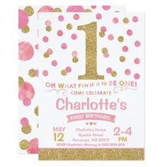 Girl 1st Birthday Invitation Pink & Gold Confetti