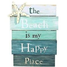 """""""The Beach Is My Happy Place"""" Sign - Tropical Starfish Plaque Coastal Wall Decor--- one of my happy places Coastal Wall Decor, Beach House Decor, Coastal Living, Coastal Cottage, Seaside Decor, Beach Room Decor, Beachy Room, Surf Decor, Lake Decor"""