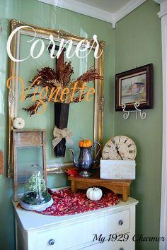 fall vignette, corner, rustic decorating