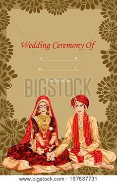 Vector design of Indian couple in wedding Kanyadan ceremony of India Marriage Invitation Card, Indian Wedding Invitation Cards, Indian Wedding Favors, Creative Wedding Invitations, Indian Wedding Decorations, Indian Invitations, Hindu Wedding Cards, Wedding Cards Handmade, Wedding Card Design Indian
