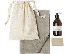 TOAST COSMETIC GIFT SET £49 | Hand wash, glycerine soap block and natural linen herringbone washcloth in a drawstring bag. In Lavender, Geranium or Petitgrain.