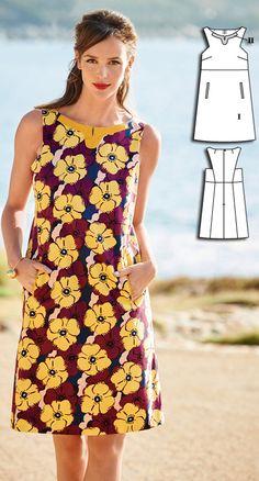 Sixties Shift Dress Burda Jul 2016 #106  Pattern $5.99: http://www.burdastyle.com/pattern_store/patterns/sixties-shift-dress-072016