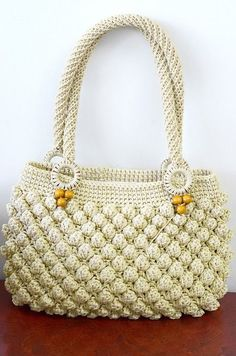 Crochet bag, popcorn stitch | Crochet Bags, Popcorn and Stitches