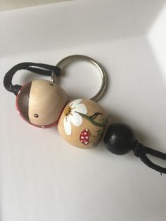 Hand Painted Spring Time Doll Keychain by pindrops on Etsy