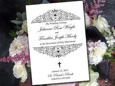 "Catholic Wedding Program Template - Printable Fold Over Ceremony Program ""Catalina"" Black Order of Ceremony - Printable Program Download by PaintTheDayDesigns on Etsy"