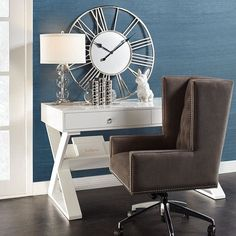 Designed with clean lines, nickel plated pulls & functional angled shelf, our Jett Desk in White Lacquer will update any home office. Affordable Home Decor, Affordable Furniture, Furniture Websites, Furniture Stores, White Lacquer Desk, Small Home Offices, White Desks, Living Room Lighting, Office Lighting