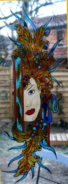 carnaval first half wicoart HANDMADE STAINED GLASS EFFECT WINDOW CLING EASY TO APPLY AND TO REMOVE HAND PAINTED WITH GALLERY GLASS AND GLASS PAINT PEBEO ON AN ELECTROSTATIC VINYL SHEET ONE OF A KIND OOAK