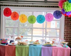 This mama used fabric from her stash for a great rainbow tablecloth!