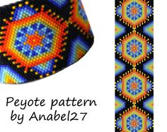 Huichol inspired peyote pattern - beadwork - peyote cuff - colorful bracelet