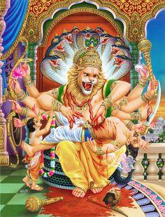 Reasons For Lord Vishnu To Take The 'Narasimha Avatar'🙏🙏 ✅Lord Vishnu takes this avatar to help his ardent devotee 'Prahlad'- Son of demon Hiranyakashipu. ✅Lord Vishnu saved his devotee, prevented the success of evil and established righteousness.