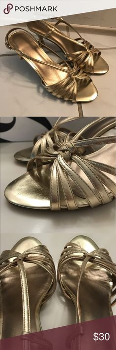 Nine West Alberr sandals, new. Nine West Alberr sandals in plantino. A delicate gold sandal with buckle closure. 3 inch heal. Perfect for the wedding season or just for wearing out. Size 6 1/2. True to size. New with box. Slight scuffing on bottom of sandals from trying on. Smoke free home. Nine West Shoes Heels