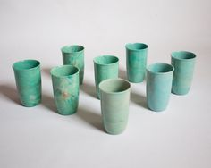 Set of 8 Vintage Turquoise Marbled Melmac