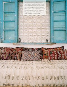 Moroccan wedding blanket and pillows