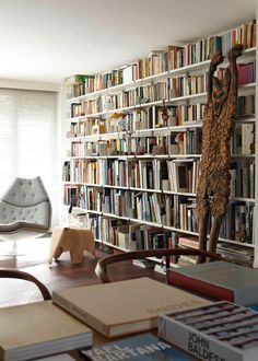 wall of books.  (Dieter Rams house interior)