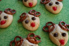 Christmas Cookies Reindeer Cookies. Made with an easy drop sugar cookie base, pretzels, choc chips and a red gumdrop.