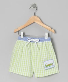 Take a look at this Lime Gingham Alligator Swim Trunks - Infant, Toddler & Boys by Petite Palace on #zulily today!