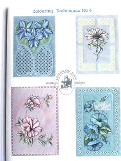 COLOURING TECHNIQUES NO 4 BY DOROTHY HOLNESS  Pattern pack 4, learn how to paint using Pinta Perla and felt pens. Four beautiful designs in this pattern pack.