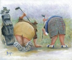 Image of 'Golfing Gals' Giclee Canvas by des brophy Golf Painting, Painting People, Painting & Drawing, Watercolor Paintings, Art And Illustration, Golf Art, Fat Art, Caricature, Giclee Print
