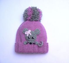 Knit Beanie With Mouse Pom Pom Hat Winte - Diy Crafts - hadido Diy Crafts Knitting, Knitting Blogs, Baby Knitting Patterns, Crochet Patterns, Knitted Hats Kids, Kids Hats, Crochet Hats, Pom Pom Hat, Pom Poms