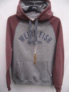 Weird #fish. grey & #conker norie hoodie sweatshirt top. #medium           ,  View more on the LINK: http://www.zeppy.io/product/gb/2/332103991058/