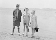 Three children on holiday near Bournemouth in 1942