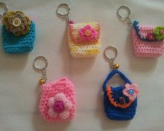 Handmade crochet coin purse with key ring