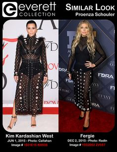 Kim Kardashian West (wearing Proenza Schouler) at arrivals for 2015 CFDA Fashion Awards - Part 2, Alice Tully Hall at Lincoln Center, New York, NY June 1, 2015. Photo By: Kristin Callahan/Everett Collection *** Fergie (wearing a Proenza Schouler dress) at arrivals for 29th Footwear News Achievement Awards, IAC Building (InterActiveCorp's Headquarters), New York, NY December 2, 2015. Photo By: Lev Radin/Everett Collection