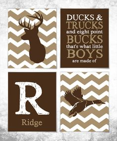 Hunting Print Set - Deer Print - Duck Print - Set of Four 8x10 Prints - Nursery Art - Baby Wall Art - Boy Room - Hunting Nursery - Chevron