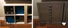 Before - white, modern, bland IKEA bookcase. After - gray, vintage printers cabinet. Awesome ikea hack!