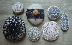 Monicaj : Crocheted Lace Stone, Black, Large, Handmade | Sumally