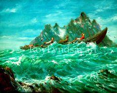 Painting, Curragh of Skellig Islands, Ireland.