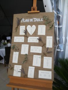 Homemade rustic table plan made of hessian, lavender, olive tree