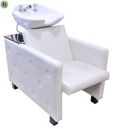 Shampoo Unit Backwash Ceramic Bowl Chair Salon Equipment Off White Barber Spa