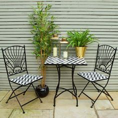 Mosaic Bistro Set, love the black and white check, gold metallics and greenery