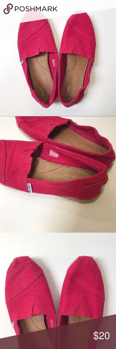 Red Toms Slipons Super cute red toms slip ons Pre loved, with normal pre loved wear, insides are in amazing condition  No holes or stains though :)   Size women's 9 Toms Shoes Flats & Loafers