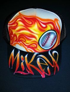 Airbrush Trucker Hat With Flaming Baseball And by BizzeeAirbrush