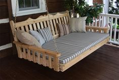Amish Cedar Wood Royal English Swing Bed Cedar outdoor furniture is lightweight and long lasting.