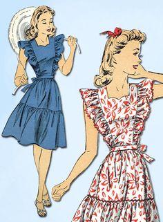 Vintage Du Barry Sewing Pattern 5630 Uncut WWII Misses Sun Dress Size for sale online Moda Vintage, Vintage Vogue, 1940s Fashion, Vintage Fashion, Fashion Through The Decades, Sundress Pattern, Patron Vintage, Vintage Dress Patterns, Apron Patterns