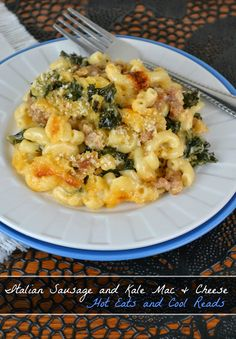 Creamy baked mac and cheese jazzed up with spicy sausage and kale! Great for Sunday dinner! Italian Sausage and Kale Macaroni and Cheese from Hot Eats and Cool Reads!