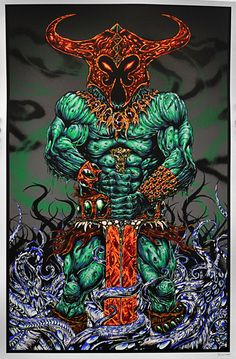 Death God Necros- Grim Green Decay by Skinner- The muscular and massive barbarian monster god stands in all his power with large sword as a netherworld beast wraps his tentacles all around the mighty warrior. Limited edition Giclée art print artwork by famous artist Skinner.