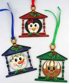 Holly Honeys Lantern Ornaments - E-Packet - Jeanne Bobish Christmas Lamp, Christmas Ornaments To Make, Christmas Holidays, Christmas Crafts, Christmas Decorations, Holiday Decor, Gingerbread Ornaments, Christmas Gingerbread, Painted Ornaments