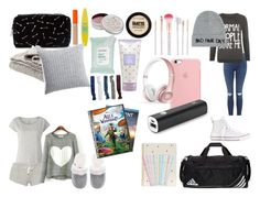 """""""What To Pack For A Sleepover"""" by elleymorrow on Polyvore featuring Calvin Klein, adidas, Forever 21, Eberjey, Rimmel, Maybelline, Mullein & Sparrow, Accessorize, WearAll and Beats by Dr. Dre"""