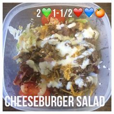 Di's Food Diary 21 Day Fix Approved Recipes= Bacon Cheeseburger Salad