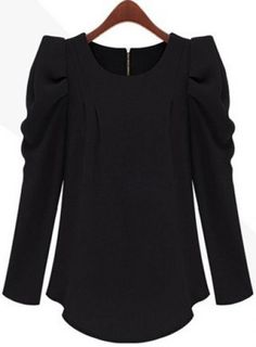 Black Long Sleeve Alice Shoulder Zipper Blouse