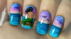 Mermaid on a Rock ⎮ Freehand Nail Art Tutorial