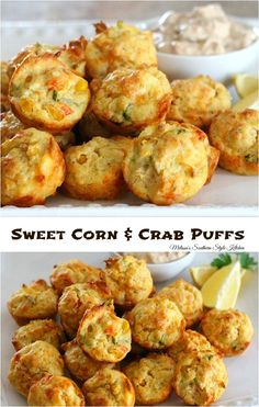 These Sweet Corn And Crab Puffs are filled with corn and jumbo lump crab meat. They're the perfect small bite ideal for serving at parties. Finger Food Appetizers, Yummy Appetizers, Appetizers For Party, Appetizer Recipes, Crab Appetizer, Seafood Appetizers, Dinner Recipes, Crab Cake Recipes, Fish Recipes