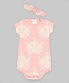 Look what I found on #zulily! Truffles Ruffles Pink Bella Brocade Bodysuit & Headband - Infant by Truffles Ruffles #zulilyfinds