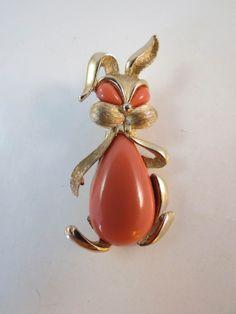 Trifari Coral Color Lucite Belly Rabbit #Trifari