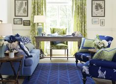 Navy Blue & Leaf Green are a classic combination. Enjoy this look with the Koi Pond fabric collection. Image: CalicoCorners.com
