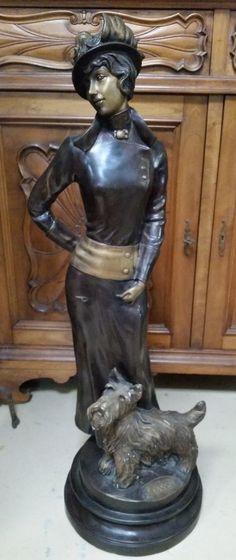"Bronze Art Deco Woman w Dog Terrier H 39"" Beautiful Dress & Lady signed E Tassel"